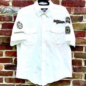 HARLEY DAVIDSON Cotton Button Patch Garage Shirt